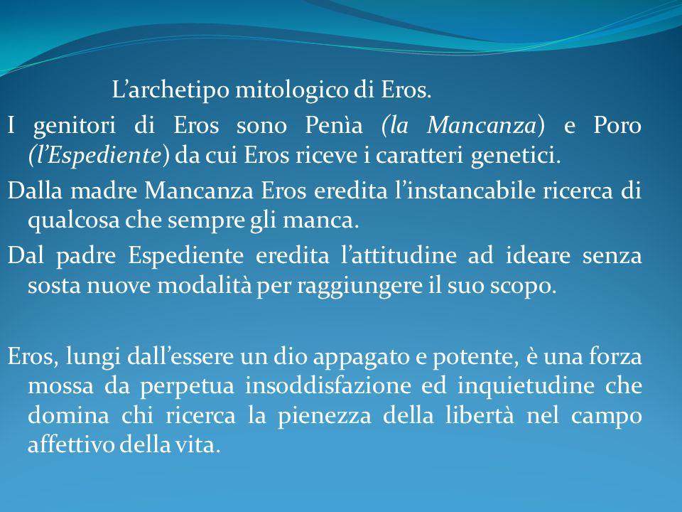 Larchetipo mitologico di Eros. I genitori di Eros sono Penìa (la Mancanza) e Poro (lEspediente) da cui Eros riceve i caratteri genetici. Dalla madre M