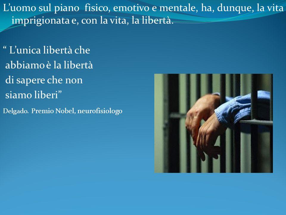 Luomo sul piano fisico, emotivo e mentale, ha, dunque, la vita imprigionata e, con la vita, la libertà. Lunica libertà che abbiamo è la libertà di sap