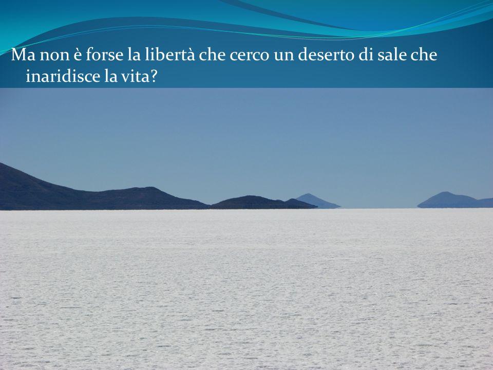 Ma non è forse la libertà che cerco un deserto di sale che inaridisce la vita?