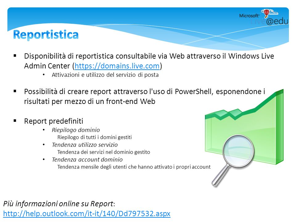 Più informazioni online su Report : http://help.outlook.com/it-it/140/Dd797532.aspx