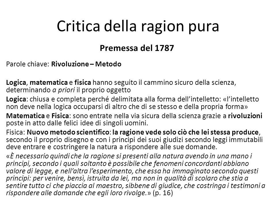Critica della ragion pura Premessa del 1787 Parole chiave: Rivoluzione – Metodo Logica, matematica e fisica hanno seguito il cammino sicuro della scie