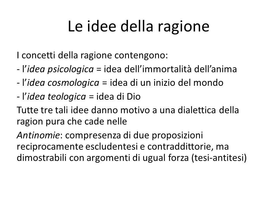 Le idee della ragione I concetti della ragione contengono: - lidea psicologica = idea dellimmortalità dellanima - lidea cosmologica = idea di un inizi