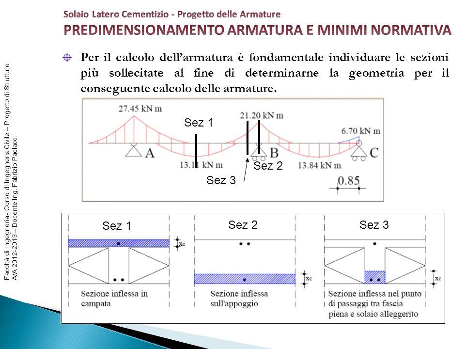 Facoltà di Ingegneria - Corso di Ingegneria Civile – Progetto di Strutture A/A 2012-2013 – Docente Ing. Fabrizio Paolacci Per il calcolo dellarmatura