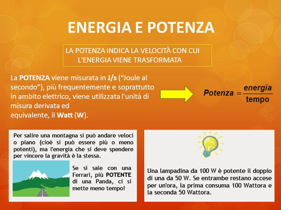 ENERGIA E POTENZA LA POTENZA INDICA LA VELOCITÀ CON CUI L'ENERGIA VIENE TRASFORMATA La POTENZA viene misurata in J/s (Joule al secondo), più frequente