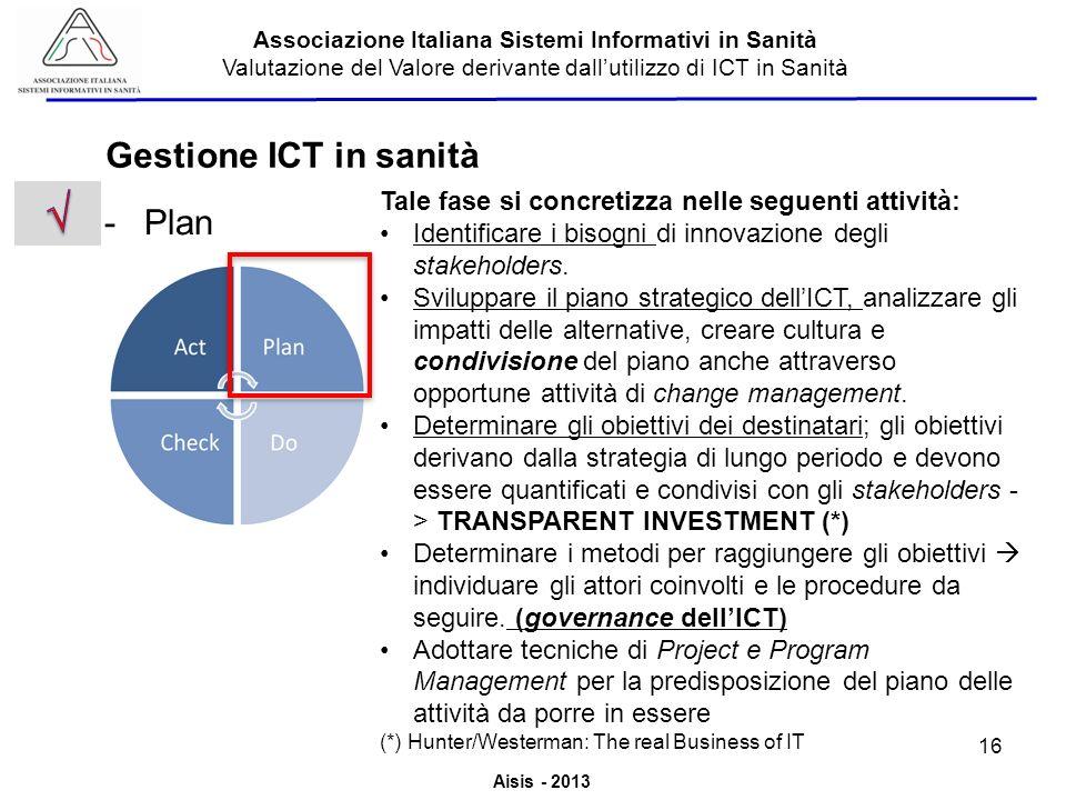 Aisis - 2013 Associazione Italiana Sistemi Informativi in Sanità Valutazione del Valore derivante dallutilizzo di ICT in Sanità -Plan Gestione ICT in