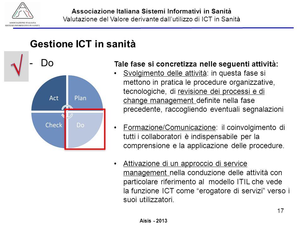Aisis - 2013 Associazione Italiana Sistemi Informativi in Sanità Valutazione del Valore derivante dallutilizzo di ICT in Sanità -Do Tale fase si concr