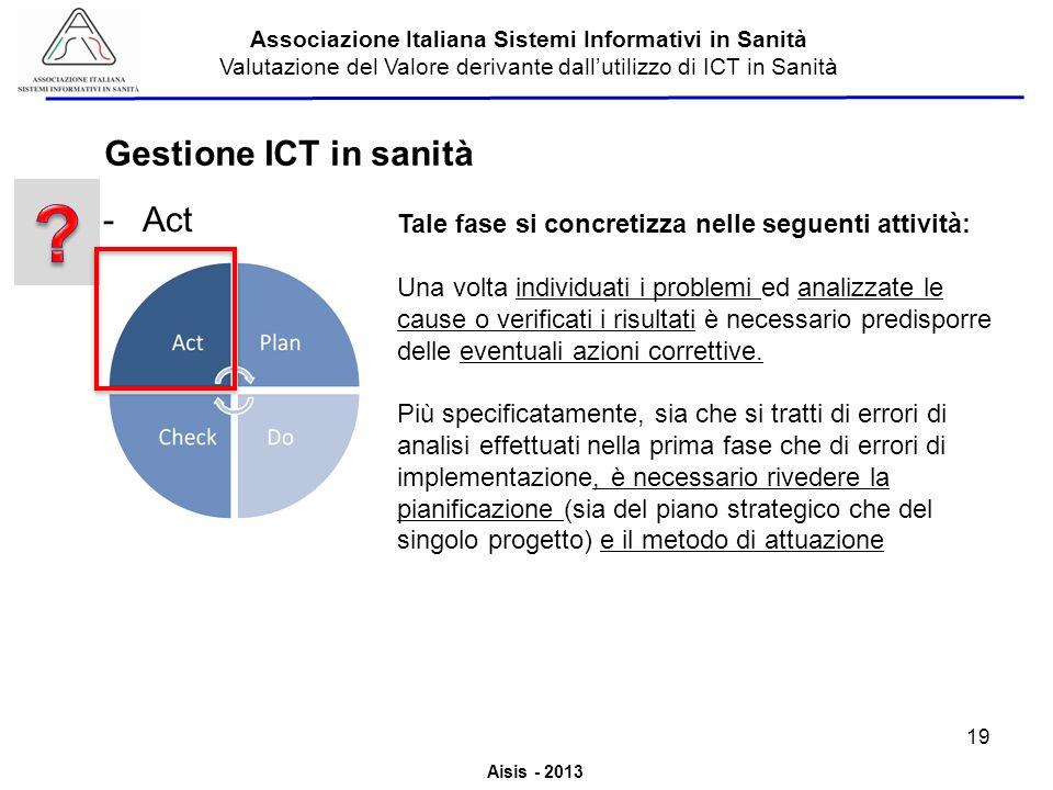 Aisis - 2013 Associazione Italiana Sistemi Informativi in Sanità Valutazione del Valore derivante dallutilizzo di ICT in Sanità -Act Tale fase si conc