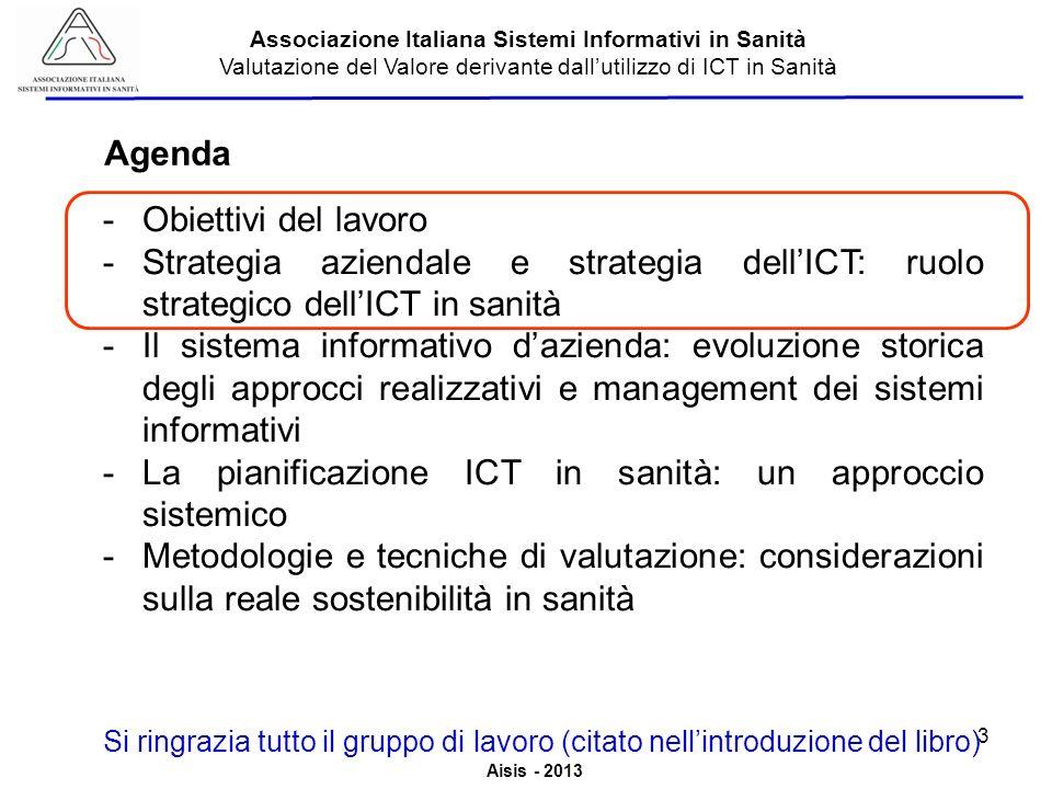 Aisis - 2013 Associazione Italiana Sistemi Informativi in Sanità Valutazione del Valore derivante dallutilizzo di ICT in Sanità ICT Performance Management: il processo 24
