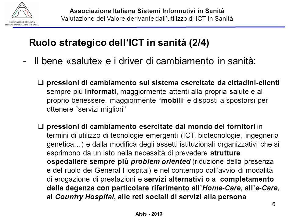 Aisis - 2013 Associazione Italiana Sistemi Informativi in Sanità Valutazione del Valore derivante dallutilizzo di ICT in Sanità -Il bene «salute» e i