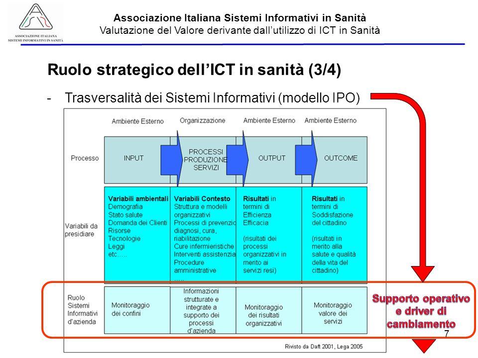 Aisis - 2013 Associazione Italiana Sistemi Informativi in Sanità Valutazione del Valore derivante dallutilizzo di ICT in Sanità -Trasversalità dei Sistemi Informativi (modello IPO) Ruolo strategico dellICT in sanità (3/4) 7