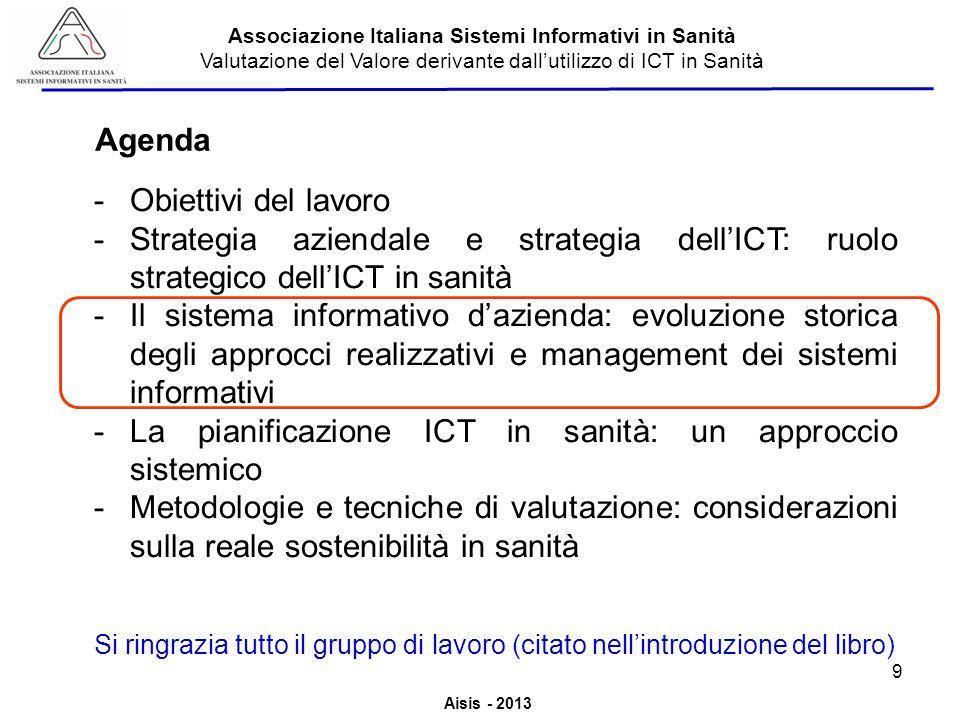 Aisis - 2013 Associazione Italiana Sistemi Informativi in Sanità Valutazione del Valore derivante dallutilizzo di ICT in Sanità -Obiettivi del lavoro