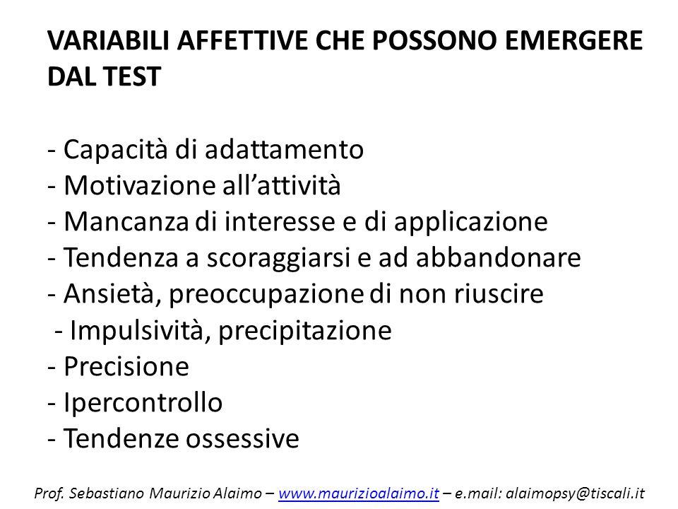 VARIABILI AFFETTIVE CHE POSSONO EMERGERE DAL TEST - Capacità di adattamento - Motivazione allattività - Mancanza di interesse e di applicazione - Tend