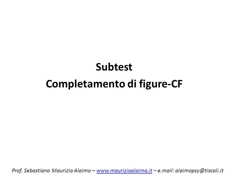 Subtest Completamento di figure-CF Prof. Sebastiano Maurizio Alaimo – www.maurizioalaimo.it – e.mail: alaimopsy@tiscali.itwww.maurizioalaimo.it