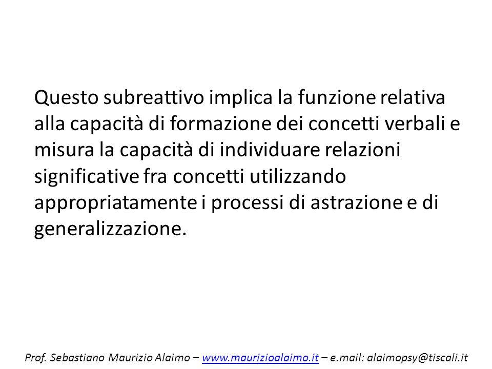 Questo subreattivo implica la funzione relativa alla capacità di formazione dei concetti verbali e misura la capacità di individuare relazioni signifi