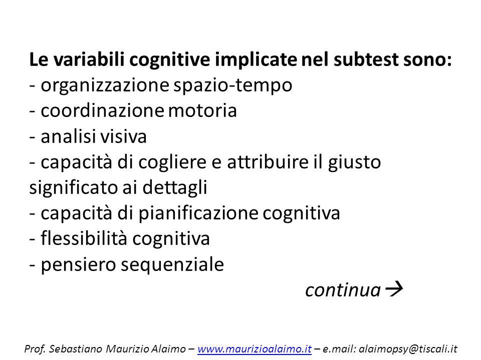 Le variabili cognitive implicate nel subtest sono: - organizzazione spazio-tempo - coordinazione motoria - analisi visiva - capacità di cogliere e att