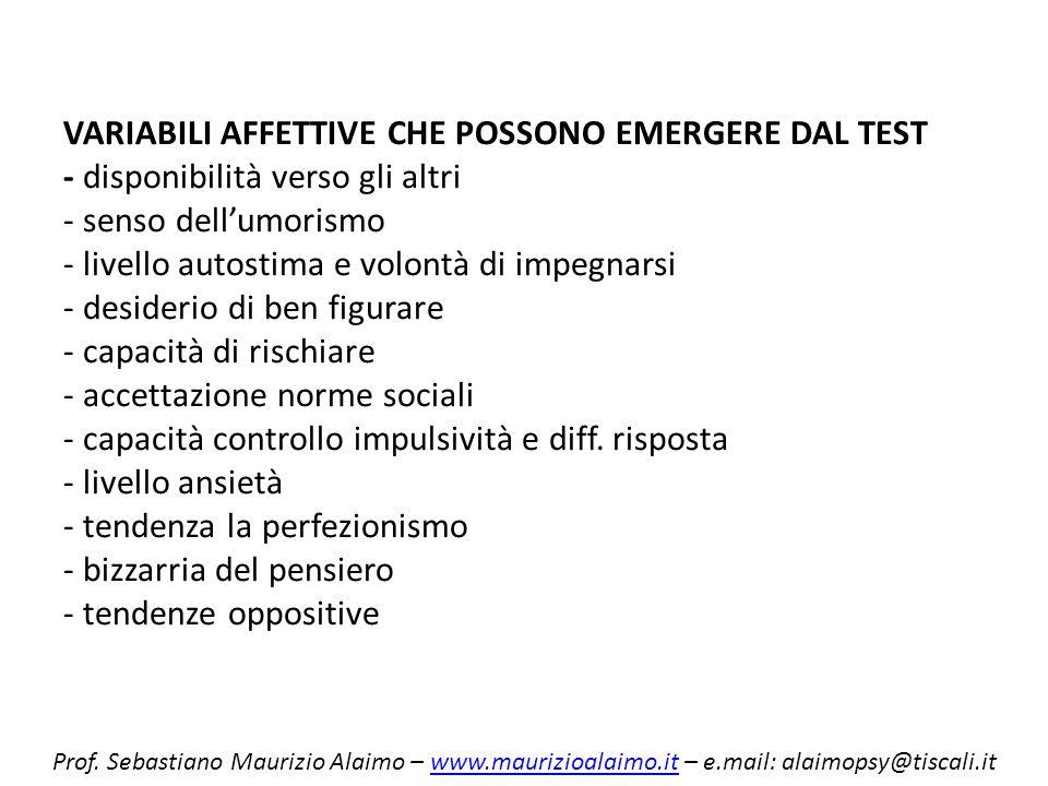 VARIABILI AFFETTIVE CHE POSSONO EMERGERE DAL TEST - disponibilità verso gli altri - senso dellumorismo - livello autostima e volontà di impegnarsi - d