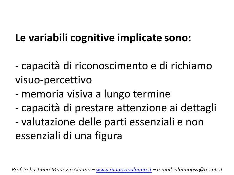Le variabili cognitive implicate sono: - capacità di riconoscimento e di richiamo visuo-percettivo - memoria visiva a lungo termine - capacità di pres