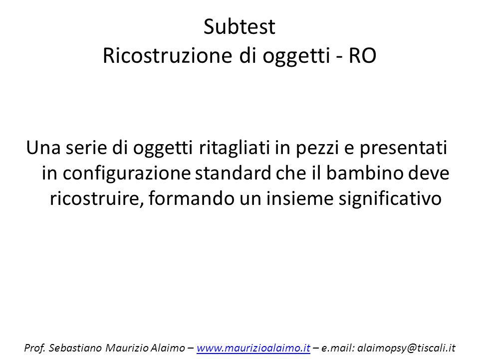 Subtest Ricostruzione di oggetti - RO Una serie di oggetti ritagliati in pezzi e presentati in configurazione standard che il bambino deve ricostruire
