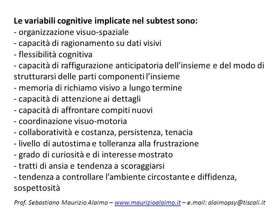 Le variabili cognitive implicate nel subtest sono: - organizzazione visuo-spaziale - capacità di ragionamento su dati visivi - flessibilità cognitiva