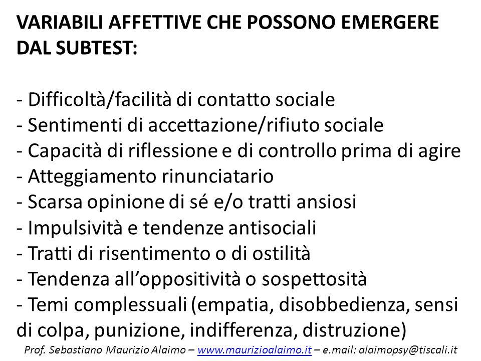 VARIABILI AFFETTIVE CHE POSSONO EMERGERE DAL SUBTEST: - Difficoltà/facilità di contatto sociale - Sentimenti di accettazione/rifiuto sociale - Capacit