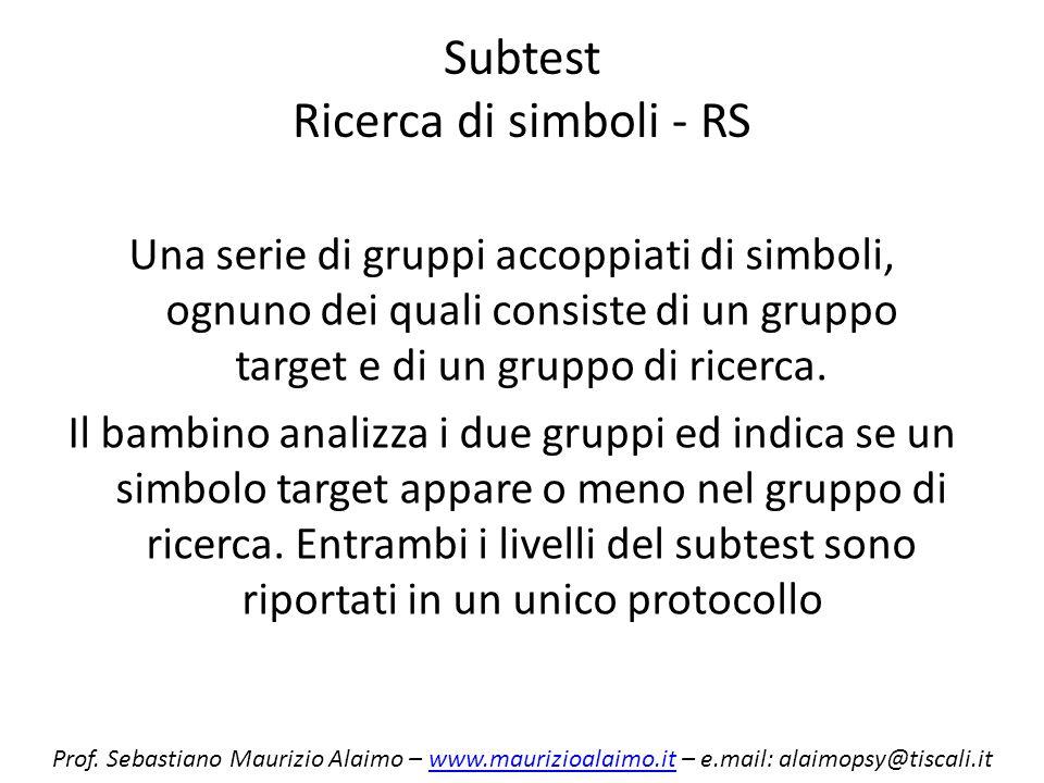 Subtest Ricerca di simboli - RS Una serie di gruppi accoppiati di simboli, ognuno dei quali consiste di un gruppo target e di un gruppo di ricerca. Il