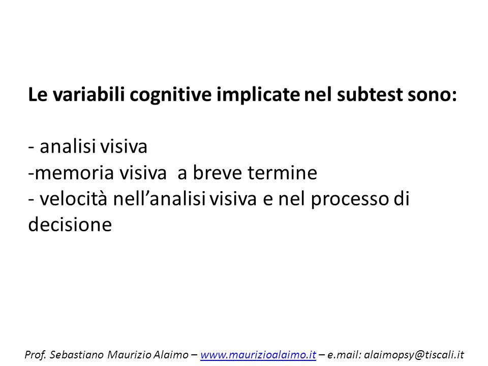 Le variabili cognitive implicate nel subtest sono: - analisi visiva -memoria visiva a breve termine - velocità nellanalisi visiva e nel processo di de