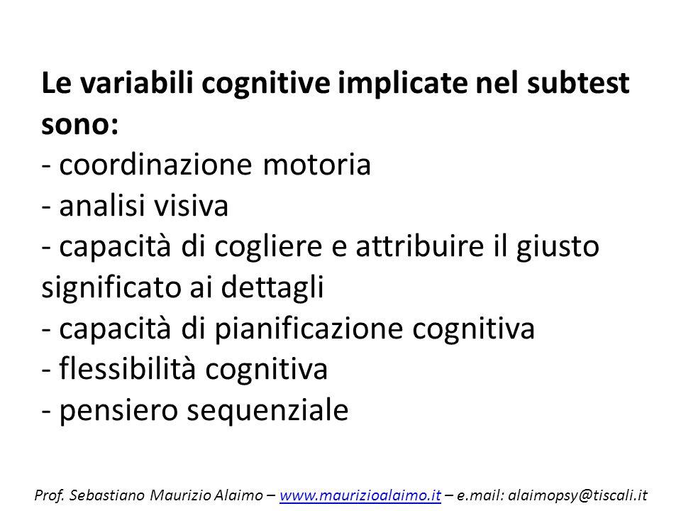 Le variabili cognitive implicate nel subtest sono: - coordinazione motoria - analisi visiva - capacità di cogliere e attribuire il giusto significato