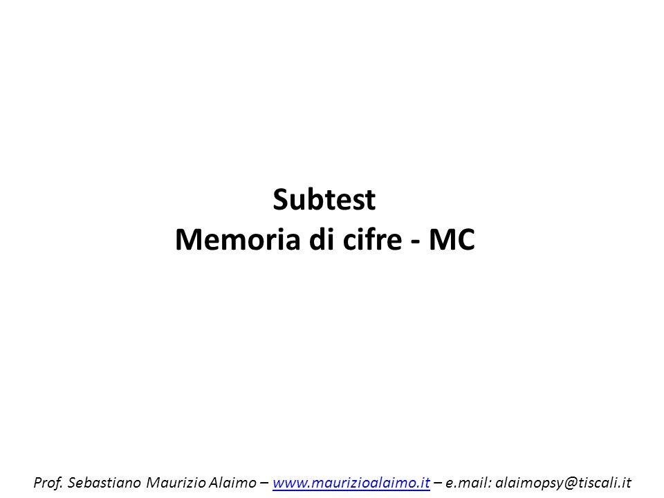 Subtest Memoria di cifre - MC Prof. Sebastiano Maurizio Alaimo – www.maurizioalaimo.it – e.mail: alaimopsy@tiscali.itwww.maurizioalaimo.it