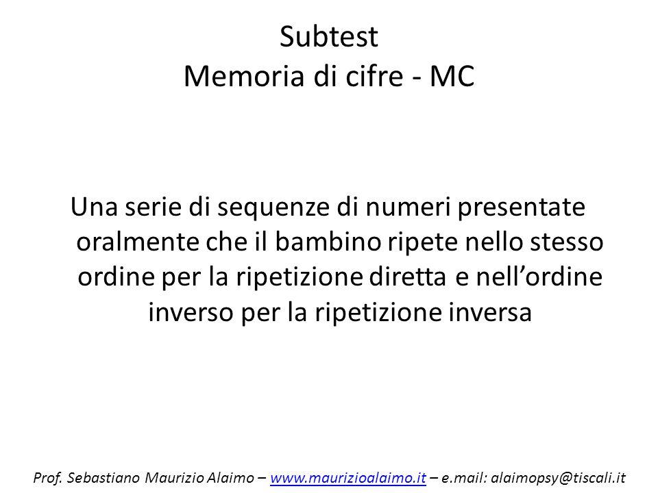 Subtest Memoria di cifre - MC Una serie di sequenze di numeri presentate oralmente che il bambino ripete nello stesso ordine per la ripetizione dirett