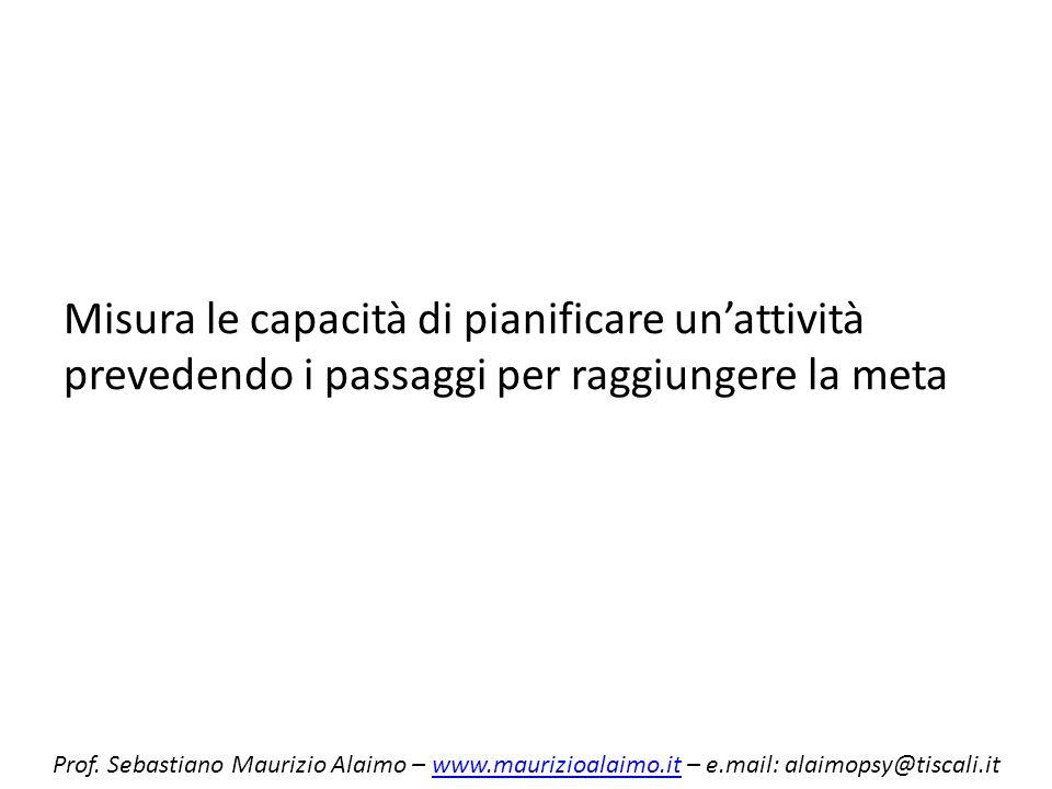 Misura le capacità di pianificare unattività prevedendo i passaggi per raggiungere la meta Prof. Sebastiano Maurizio Alaimo – www.maurizioalaimo.it –