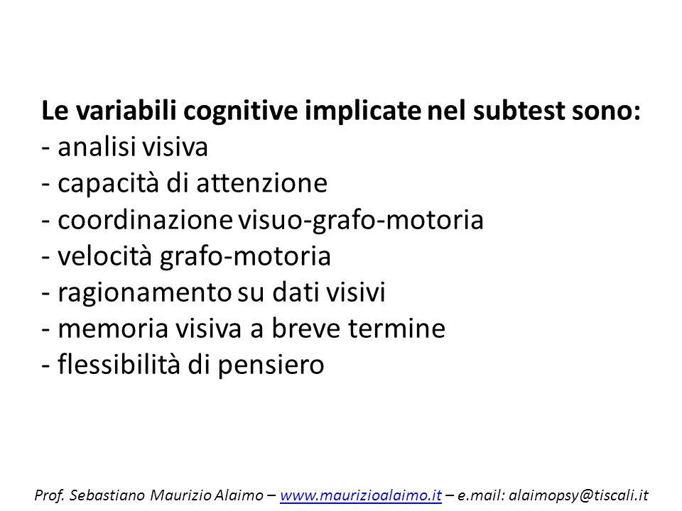 Le variabili cognitive implicate nel subtest sono: - analisi visiva - capacità di attenzione - coordinazione visuo-grafo-motoria - velocità grafo-moto