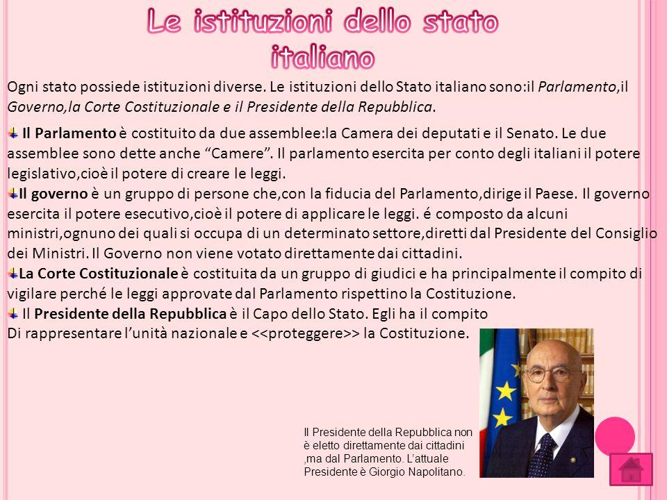 Ogni stato possiede istituzioni diverse. Le istituzioni dello Stato italiano sono:il Parlamento,il Governo,la Corte Costituzionale e il Presidente del