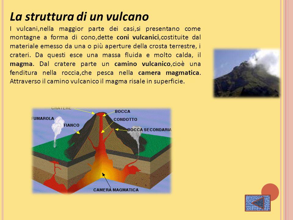 La struttura di un vulcano I vulcani,nella maggior parte dei casi,si presentano come montagne a forma di cono,dette coni vulcanici,costituite dal mate
