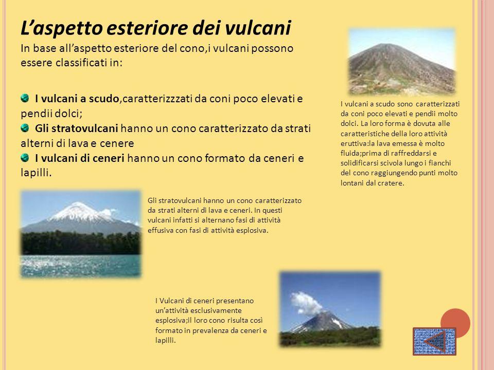 Laspetto esteriore dei vulcani In base allaspetto esteriore del cono,i vulcani possono essere classificati in: I vulcani a scudo,caratterizzzati da co