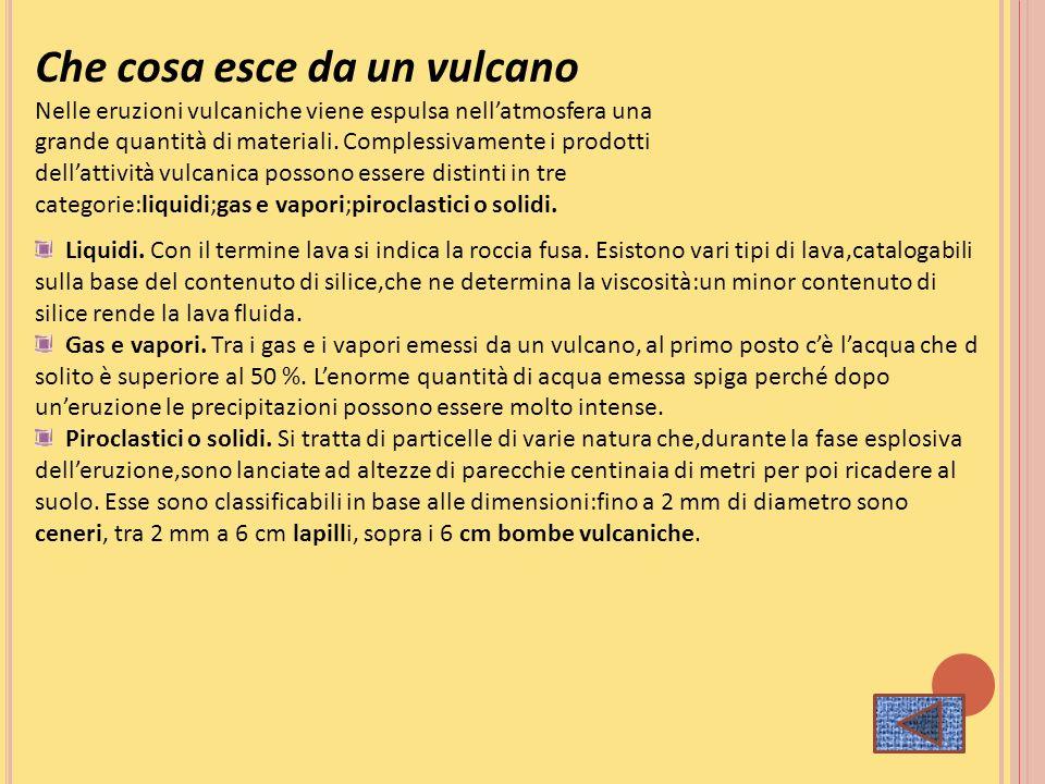 Che cosa esce da un vulcano Nelle eruzioni vulcaniche viene espulsa nellatmosfera una grande quantità di materiali. Complessivamente i prodotti dellat