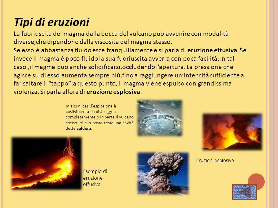 Tipi di eruzioni La fuoriuscita del magma dalla bocca del vulcano può avvenire con modalità diverse,che dipendono dalla viscosità del magma stesso. Se