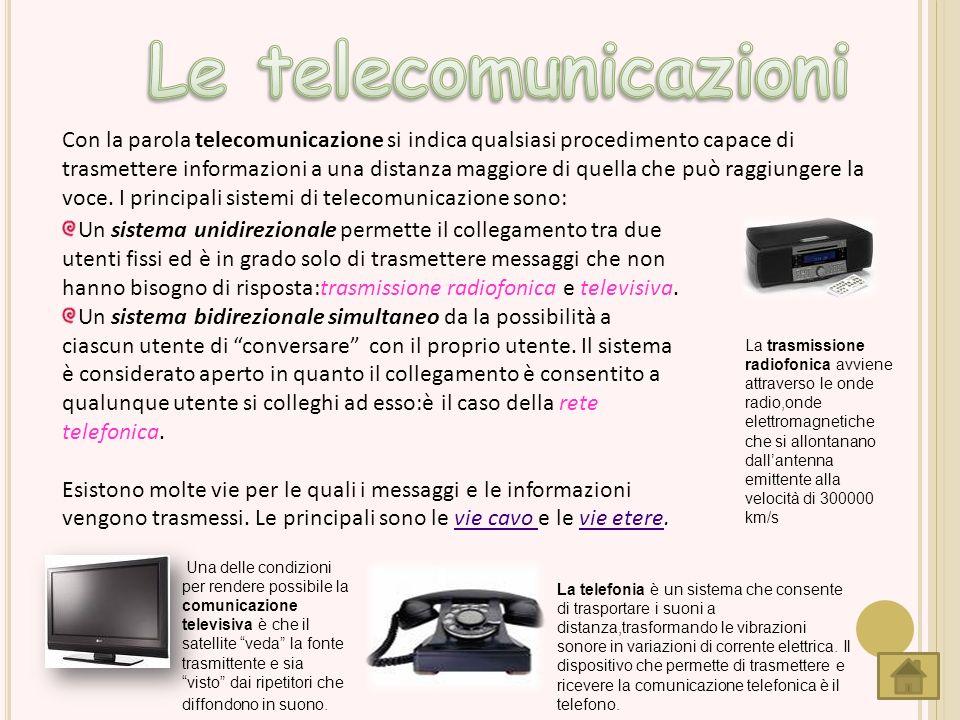 Con la parola telecomunicazione si indica qualsiasi procedimento capace di trasmettere informazioni a una distanza maggiore di quella che può raggiung