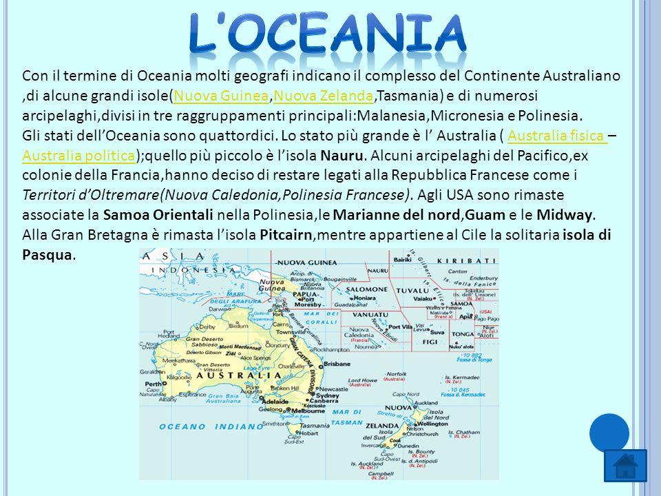 Con il termine di Oceania molti geografi indicano il complesso del Continente Australiano,di alcune grandi isole(Nuova Guinea,Nuova Zelanda,Tasmania)