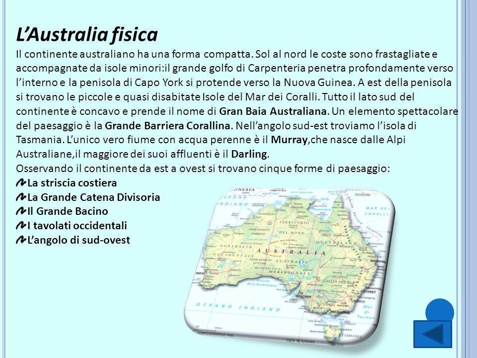 LAustralia fisica Il continente australiano ha una forma compatta. Sol al nord le coste sono frastagliate e accompagnate da isole minori:il grande gol
