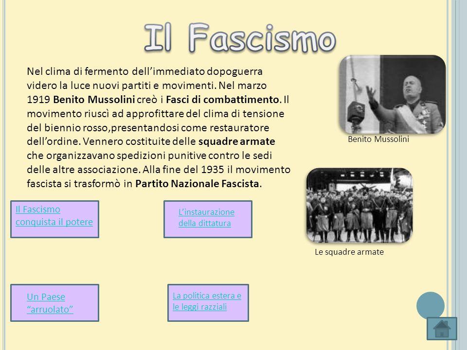 Nel clima di fermento dellimmediato dopoguerra videro la luce nuovi partiti e movimenti. Nel marzo 1919 Benito Mussolini creò i Fasci di combattimento