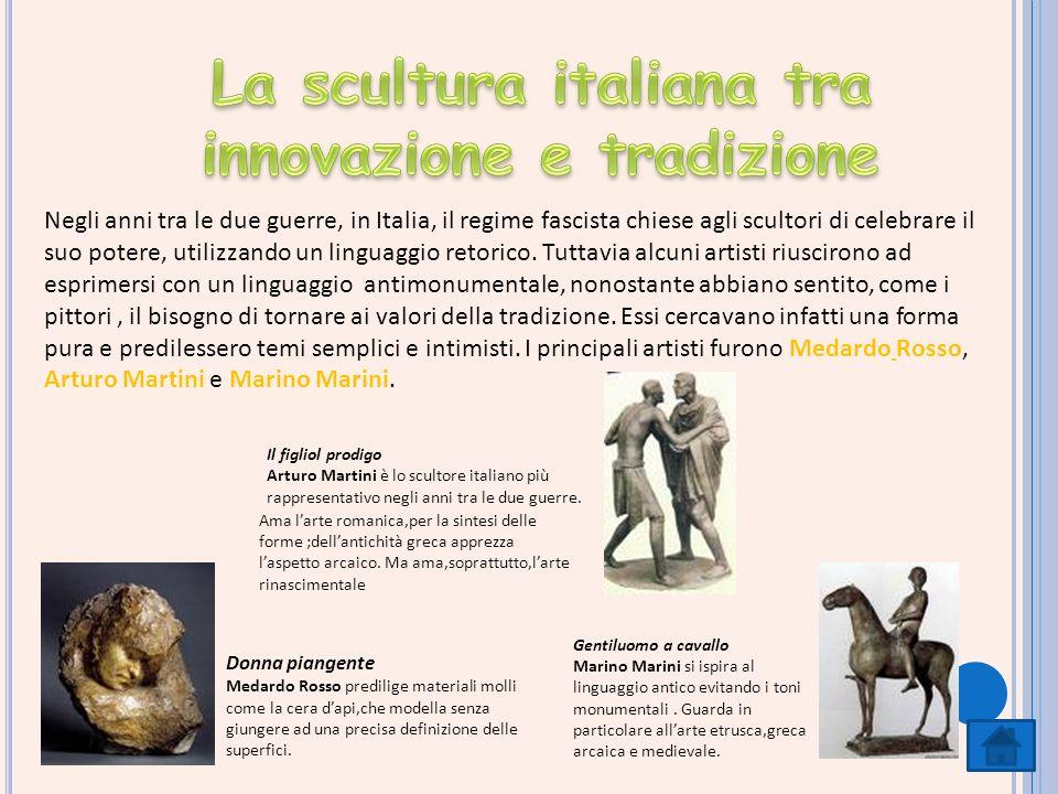 Negli anni tra le due guerre, in Italia, il regime fascista chiese agli scultori di celebrare il suo potere, utilizzando un linguaggio retorico. Tutta