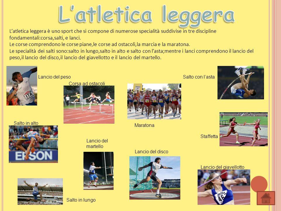 Latletica leggera è uno sport che si compone di numerose specialità suddivise in tre discipline fondamentali:corsa,salti, e lanci. Le corse comprendon