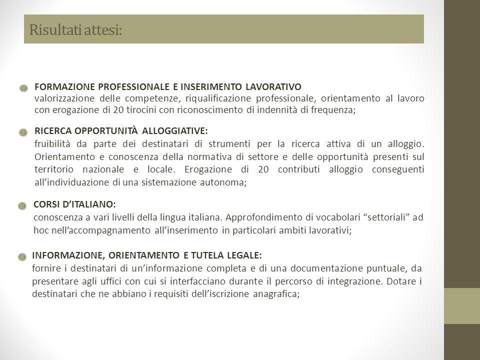 Risultati attesi: FORMAZIONE PROFESSIONALE E INSERIMENTO LAVORATIVO valorizzazione delle competenze, riqualificazione professionale, orientamento al l