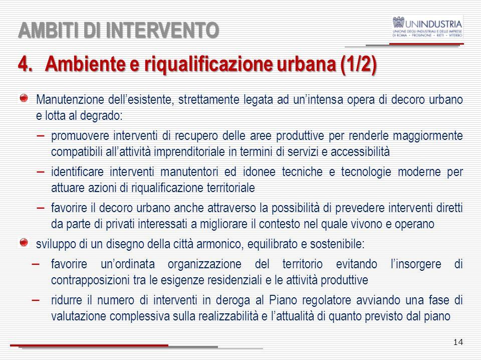 13 AMBITI DI INTERVENTO 3.Logistica urbana Promuovere un sistema di logistica urbana che contemperi la sostenibilità ambientale con i modelli di busin