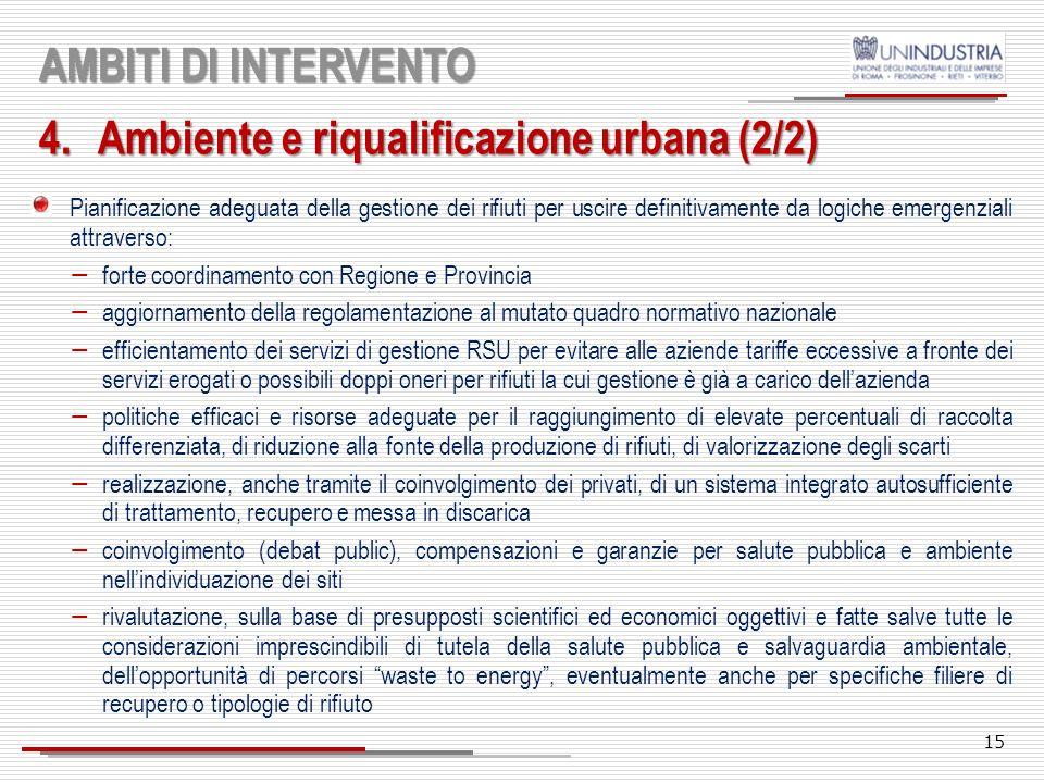 14 AMBITI DI INTERVENTO 4.Ambiente e riqualificazione urbana (1/2) Manutenzione dellesistente, strettamente legata ad unintensa opera di decoro urbano