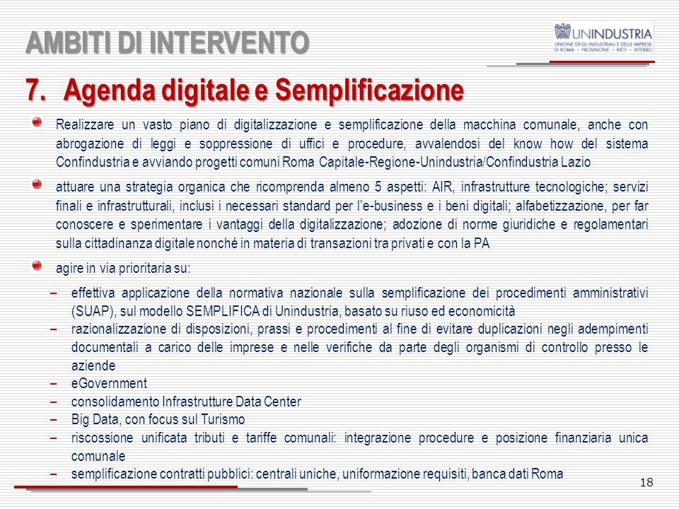 17 AMBITI DI INTERVENTO 6.Smart city Applicare il modello Città intelligenti per l'integrazione funzionale dell'area metropolitana di Roma, attuando u