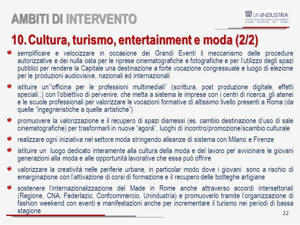21 AMBITI DI INTERVENTO 10.Cultura, turismo, entertainment e moda (1/2) Passare dalla tutela della cultura alla cultura della tutela: il patrimonio ar