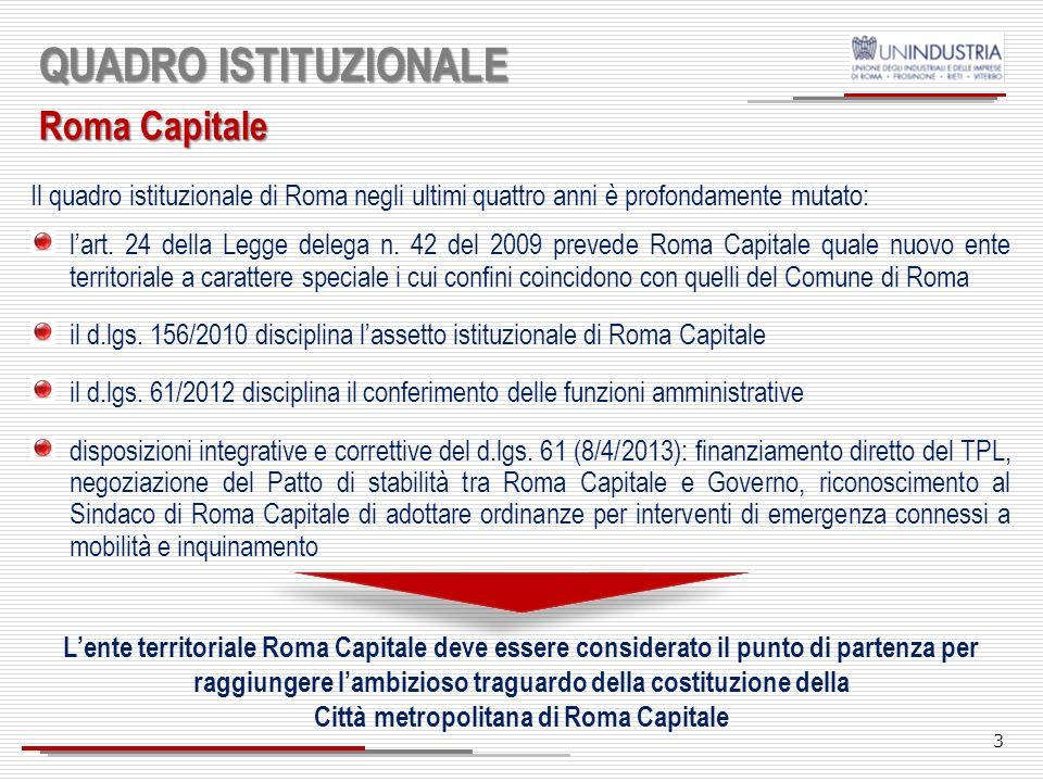 3 QUADRO ISTITUZIONALE Roma Capitale Il quadro istituzionale di Roma negli ultimi quattro anni è profondamente mutato: lart.