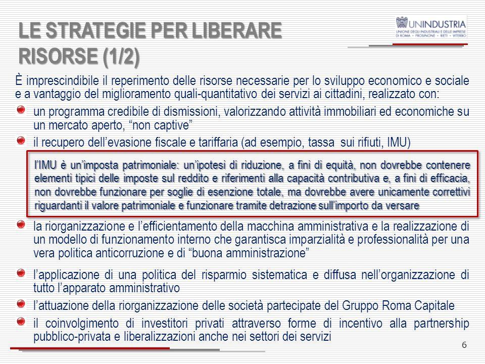 IL VINCOLO DELLE RISORSE ECONOMICO-FINANZIARIE Il debito del Comune di Roma al 31/12/2011 ammonta a 12,1 miliardi di euro ; di questo il debito finanz