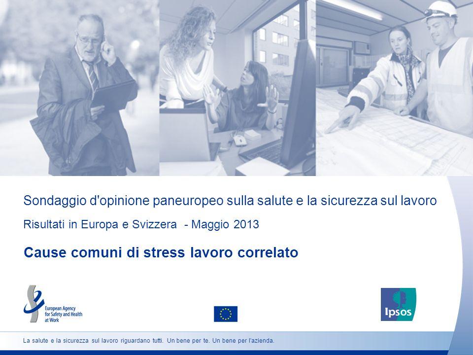 Sondaggio d opinione paneuropeo sulla salute e la sicurezza sul lavoro Risultati in Europa e Svizzera - Maggio 2013 Cause comuni di stress lavoro correlato La salute e la sicurezza sul lavoro riguardano tutti.